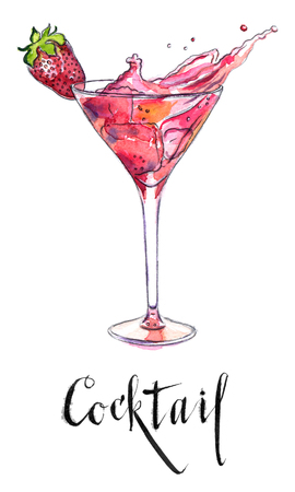 soda splash: Wineglass of strawberry cocktail, hand drawn - watercolor Illustration
