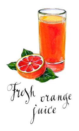 fiambres: Glass of orange juice with orange, hand drawn - watercolor Illustration Foto de archivo
