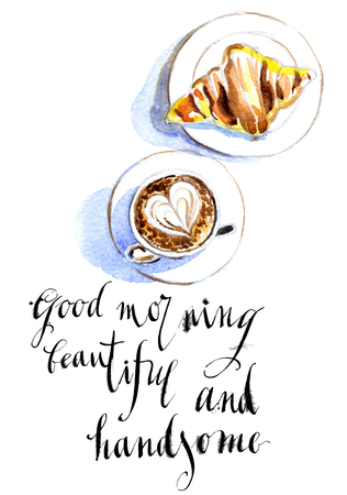 latte: French breakfast of coffee and croissant, latte art