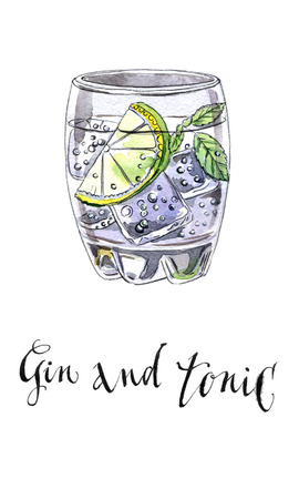 tonic: Glass of gin and tonic, hand drawn - watercolor Illustration