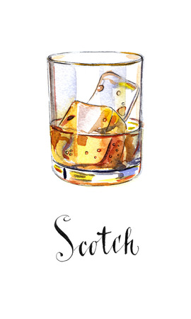 scotch: Glass of scotch whiskey brandy with ice cubes, hand drawn - watercolor Illustration