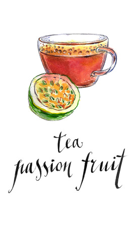 passion fruit: Tea from passion fruit, hand drawn - watercolor Illustration