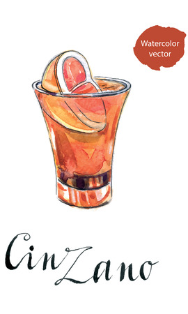 italian tradition: Glass of cinzano with red orange, hand drawn - watercolor vector Illustration Illustration