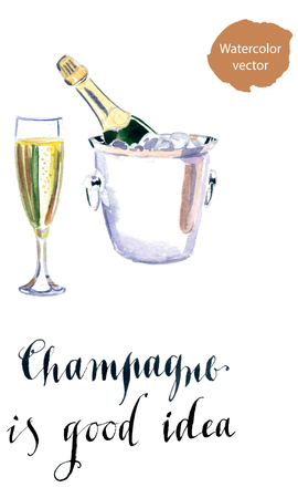 uncork: Glass of champagne with bottle in metal container, watercolor, hand drawn - vector Illustration