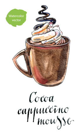 hot cup: Glass of cocoa cappuccino mousse, hand drawn - watercolor vector Illustration