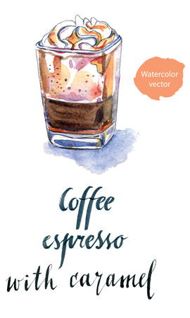 Verre de café expresso avec du caramel, dessiné à la main - vecteur aquarelle Illustration