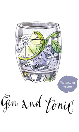 tonic: Glass of gin and tonic, hand drawn - watercolor vector Illustration