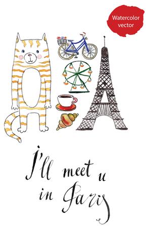 meet: Ill meet u in Paris, hand drawn, watercolor vector Illustration