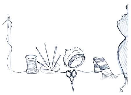 spool: Mannequin, needles, spool of thread, beret, scarf, scissors and thread, hand drawn - vector Illustration