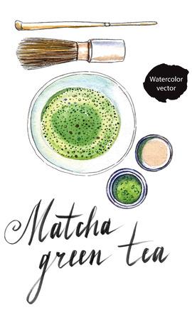 Pulverisierte japanischen grünen Tee mit Bambuslöffel, Schneebesen zum Schlagen, Ansicht von oben, von Hand gezeichnet - Aquarell Vektor Illustration Vektorgrafik