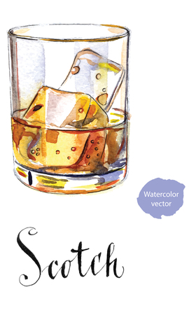 Glass of scotch whiskey brandy with ice cubes, hand drawn - watercolor vector  Illustration Çizim