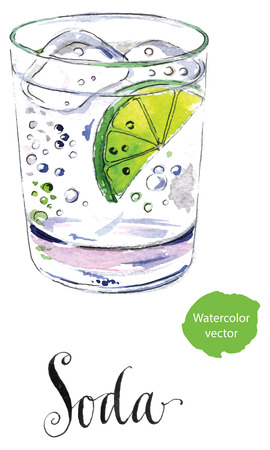 Soda glass with citrus segment and ice cubes, hand drawn - watercolor vector Illustration