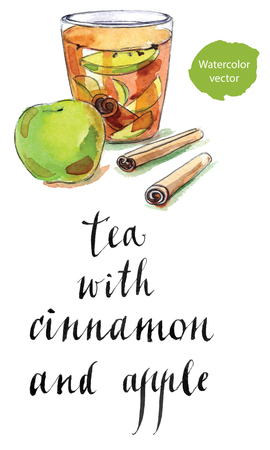 apple cinnamon: Glass cup of tea with dried cinnamon and raw apple, hand drawn - watercolor vector Illustration