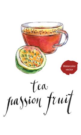 grenadilla: Tea from passion fruit, hand drawn - watercolor vector Illustration Illustration