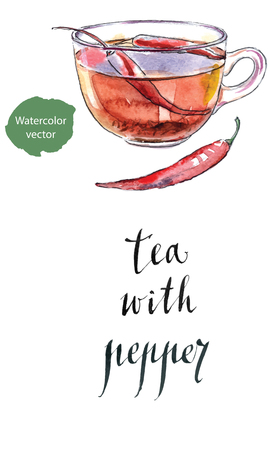black tea: Mix bio black tea with chili pepper and raw red chilies, hand drawn - watercolor vector Illustration Illustration