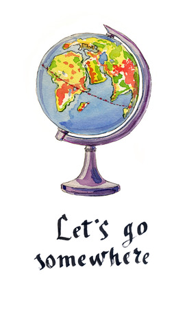 globe hand: The globe, hand drawn - watercolor Illustration