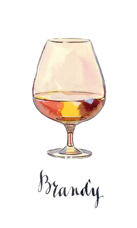 brandy: Glass of scotch whisky brandy with ice, hand drawn - watercolor Illustration Stock Photo