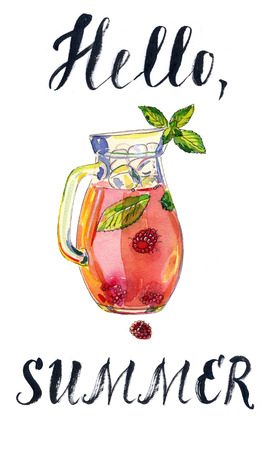 ice tea: Fruit iced tea with raspberries, peppermint and ice in pitcher, hand drawn - watercolor Illustration