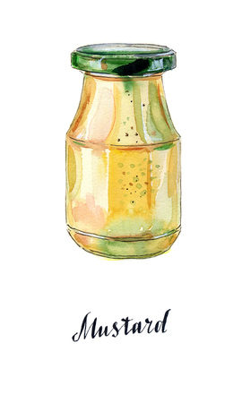 gastronomic: Glass jar of mustard with green lid, hand drawn - watercolor Illustration Stock Photo