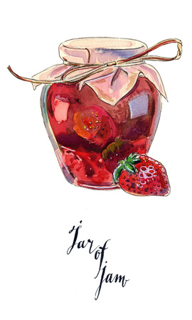 confiture: Strawberry marmalade jam in a glass jar and fresh berry, hand drawn - watercolor Illustration