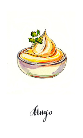 mayonnaise: Bowl of mayonnaise with parsley, hand drawn - watercolor Illustration