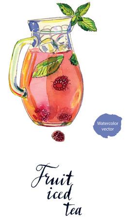 Fruit ijsthee met frambozen, pepermunt en ijs in werper, met de hand getekend - aquarel vectorIllustratie
