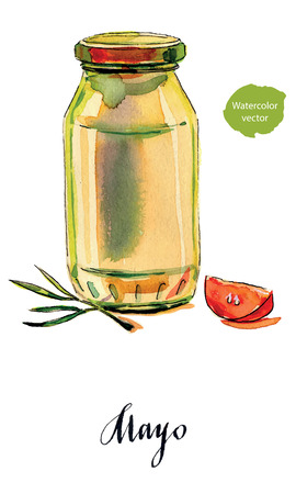 Mayonnaise in glass jar with green lid, sliced tomato and olive sprig, hand drawn - watercolor vector Illustration Illustration