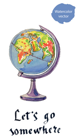 globe hand: The globe, hand drawn - watercolor vector Illustration
