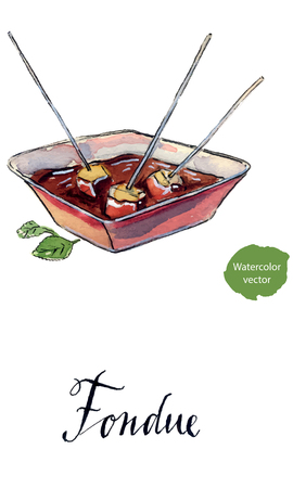 Chocolate cheese fondue, traditional Swiss food with mint for winter, hand drawn - watercolor vector Illustration