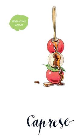 mozzarella: Caprese salad on skewer, mozzarella, cherry tomatoes, fresh herbs and basil, hand drawn - watercolor vector Illustration