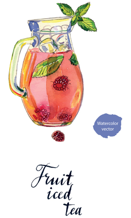 Fruit iced tea with raspberries, peppermint and ice in pitcher, hand drawn - watercolor vector Illustration