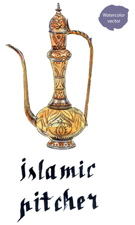 eastern: Eastern jug, hand drawn - watercolor vector Illustration