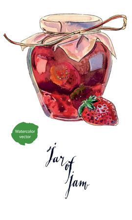 confiture: Strawberry marmalade jam in a glass jar and fresh berry, hand drawn - watercolor vector Illustration
