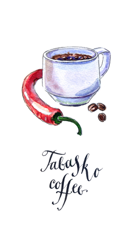 flavoring: Cup of black coffee with pepper, Tabasco coffee, hand drawn - watercolor Illustration