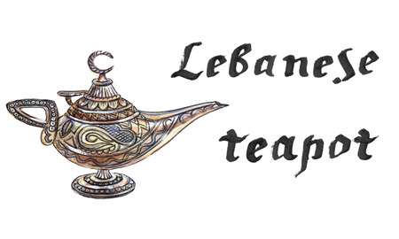 Magic lamp from the story of Aladdin with Genie. Alladins Oriental eastern candle lamp with a Djinn. Hand drawn - watercolor Illustration