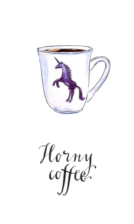 caballo bebe: Horny coffee, dark unicorn on a white cup, hand drawn - watercolor Illustration