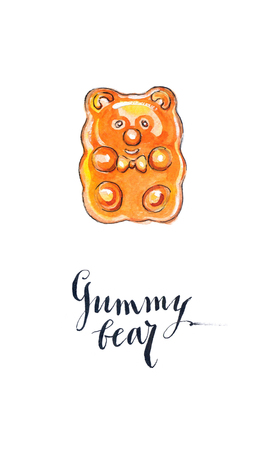 gummy: Orange jelly gummy bear candy, fruit flavored gummy bear, hand drawn - watercolor Illustration