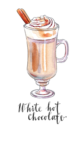 White hot chocolate in mug decorated with whipped cream with cinnamon stick, hand drawn - watercolor Illustration