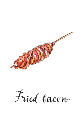 wooden stick: Fried bacon with sausage on wooden stick, hand drawn - watercolor Illustration