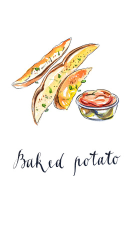 Baked potatoes with tomato ketchup, hand drawn - watercolor Illustration Stock Photo