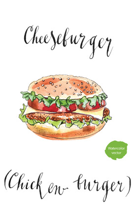 Big American cheeseburger, chicken burger, hand drawn - watercolor Illustration Illustration