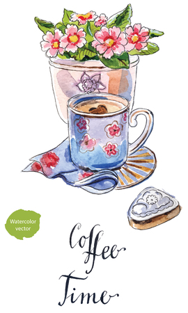 Coffee time, black coffee in a blue cup with a flower pot and a cake, hand drawn - watercolor Illustration Illustration