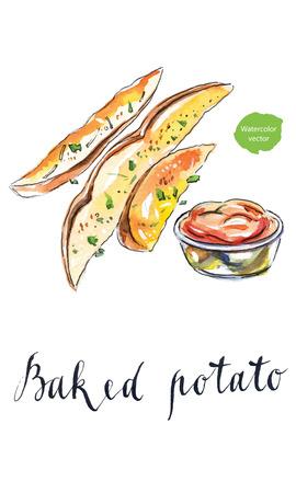 baked potatoes: Baked potatoes with tomato ketchup, hand drawn - watercolor Illustration Stock Photo