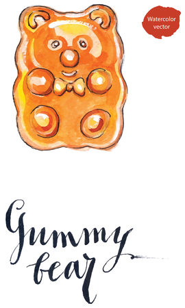 Orange jelly gummy bear candy, fruit flavored gummy bear, hand drawn - watercolor Illustration