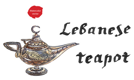 appear: Magic lamp from the story of Aladdin with Genie. Alladins Oriental eastern candle lamp with a Djinn. Hand drawn - watercolor illustration