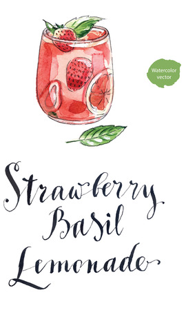 refreshing: Chilled refreshing lemonade with fresh strawberry and basil on a glass, hand drawn - watercolor Illustration