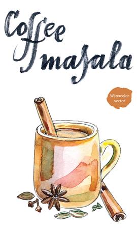 Indian coffee masala, hand drawn - watercolor Illustration Illustration