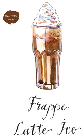 iced: Frappe latte iced coffee drink in a tall glass with cream, hand drawn - watercolor Illustration