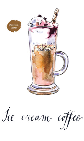Fresh brewed coffee ice cream with currant, hand drawn - watercolor Illustration