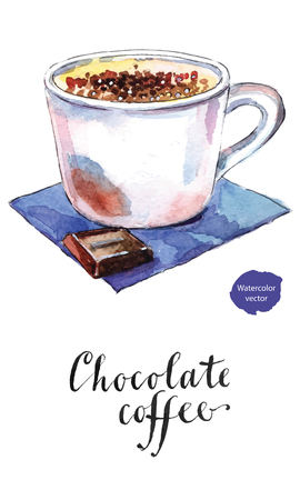 Chocolate coffee in white cup, hand drawn - watercolor Illustration